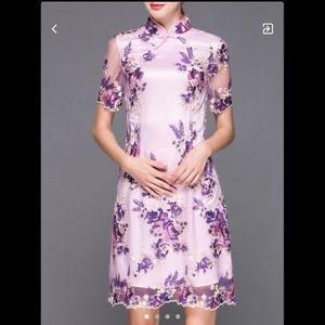 ❣️👗❣️ Purple Vintage Embroidered Dress